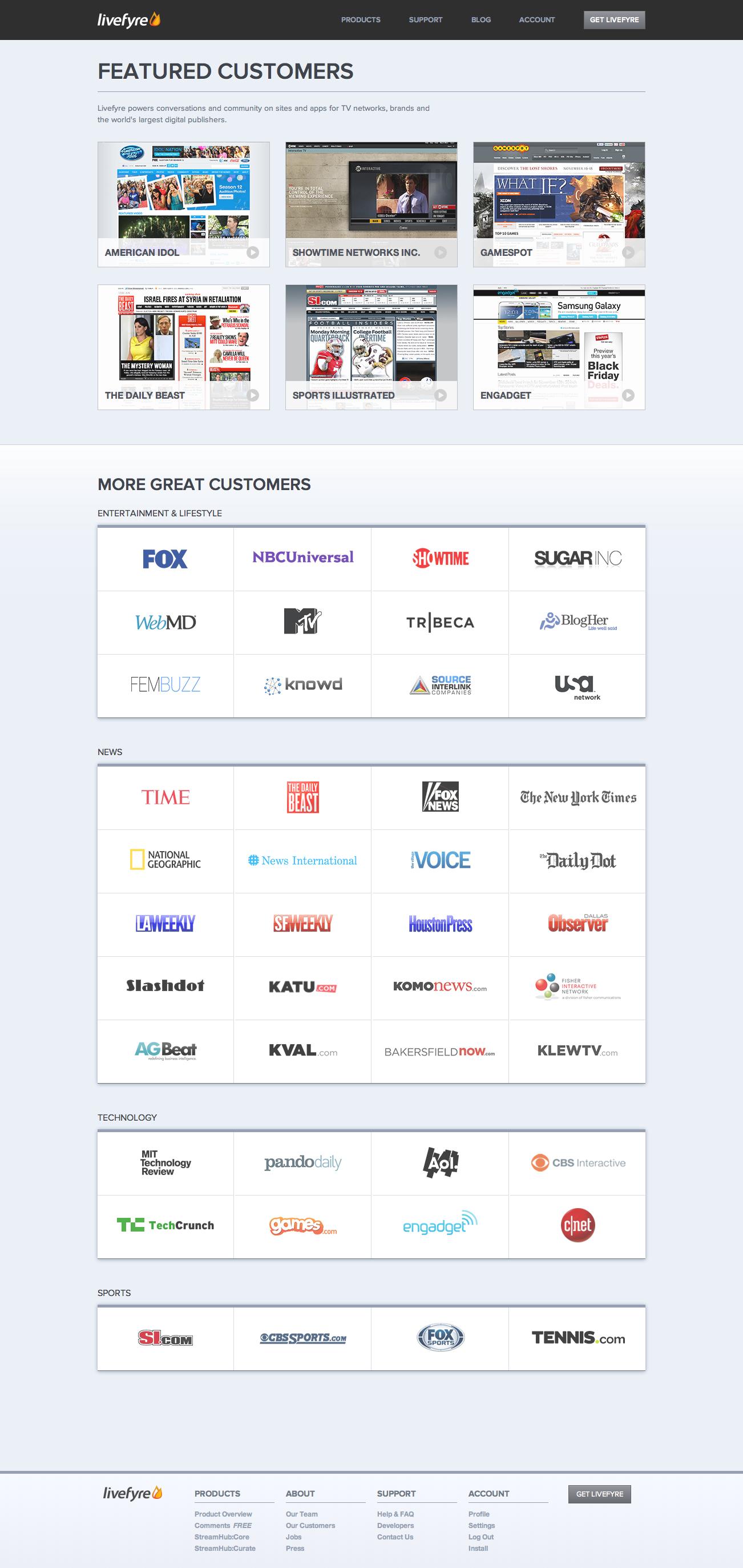 Livefyre.com v5: Customers