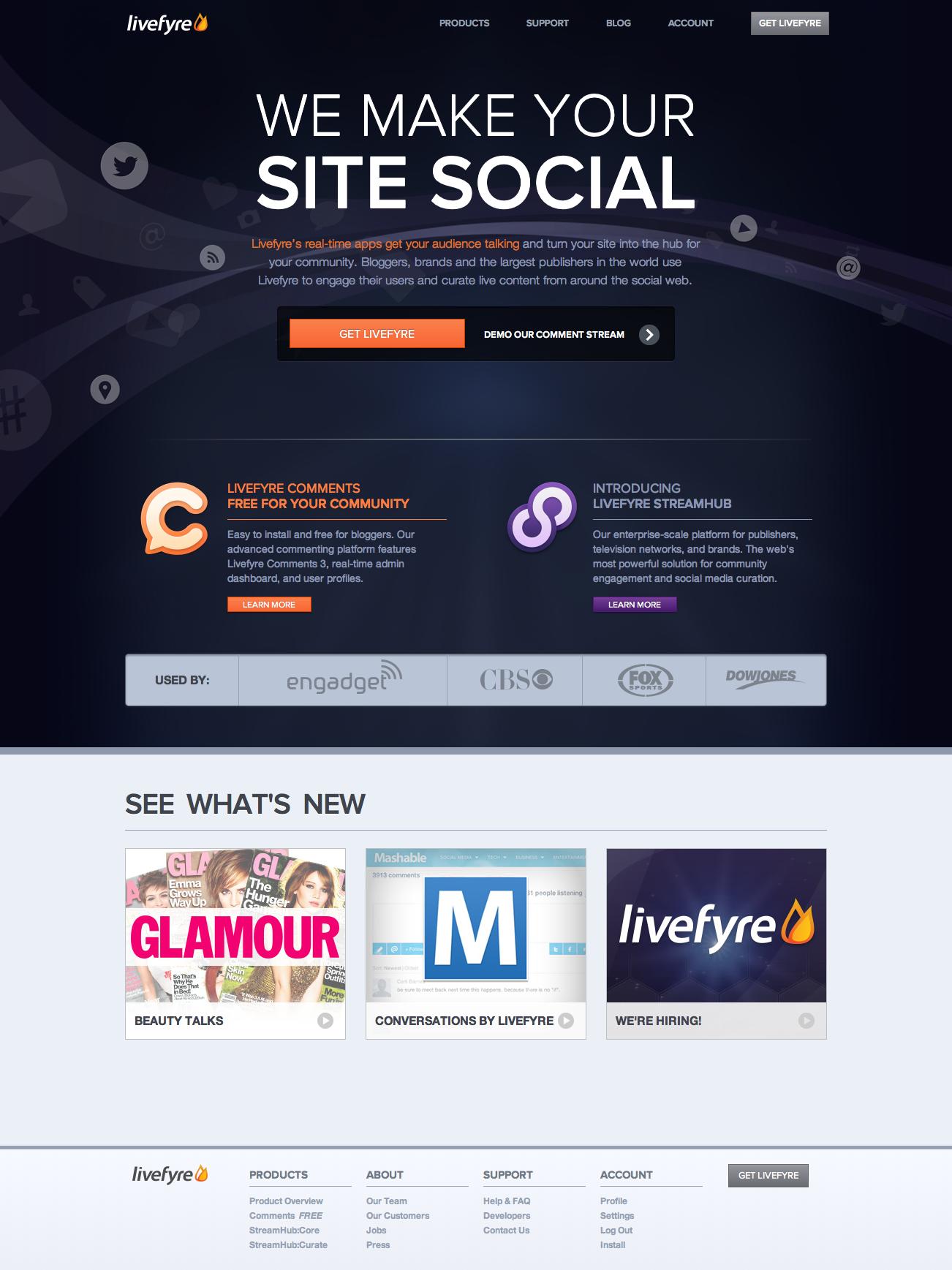 Livefyre.com v5: Homepage 1
