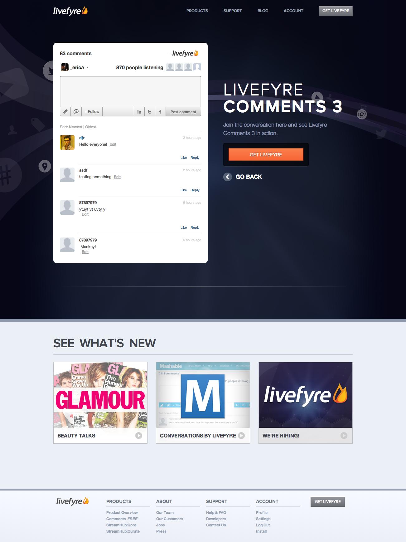 Livefyre.com v5: Homepage 2