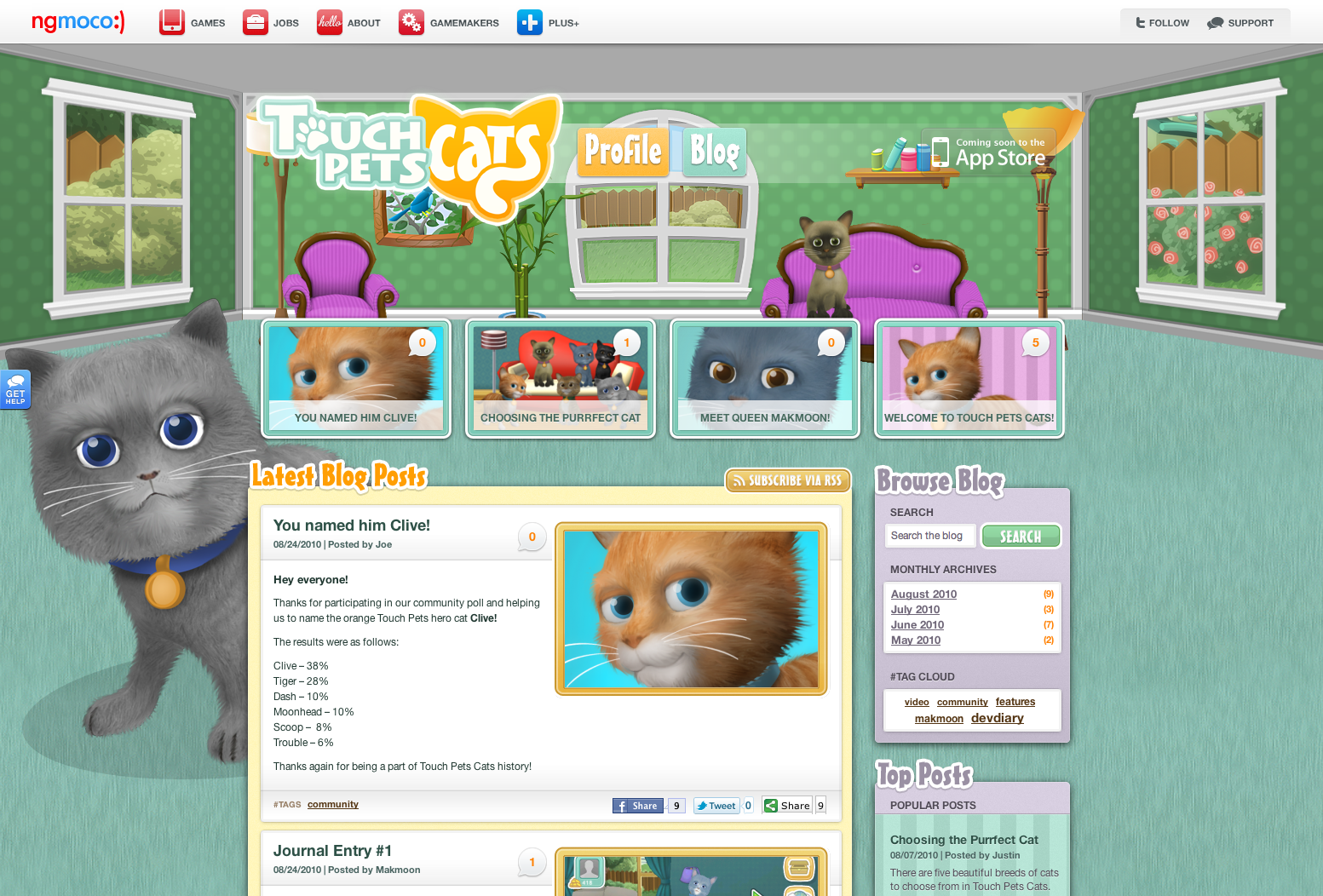 ngmoco:) TouchPets Cats WordPress Theme: Header 2