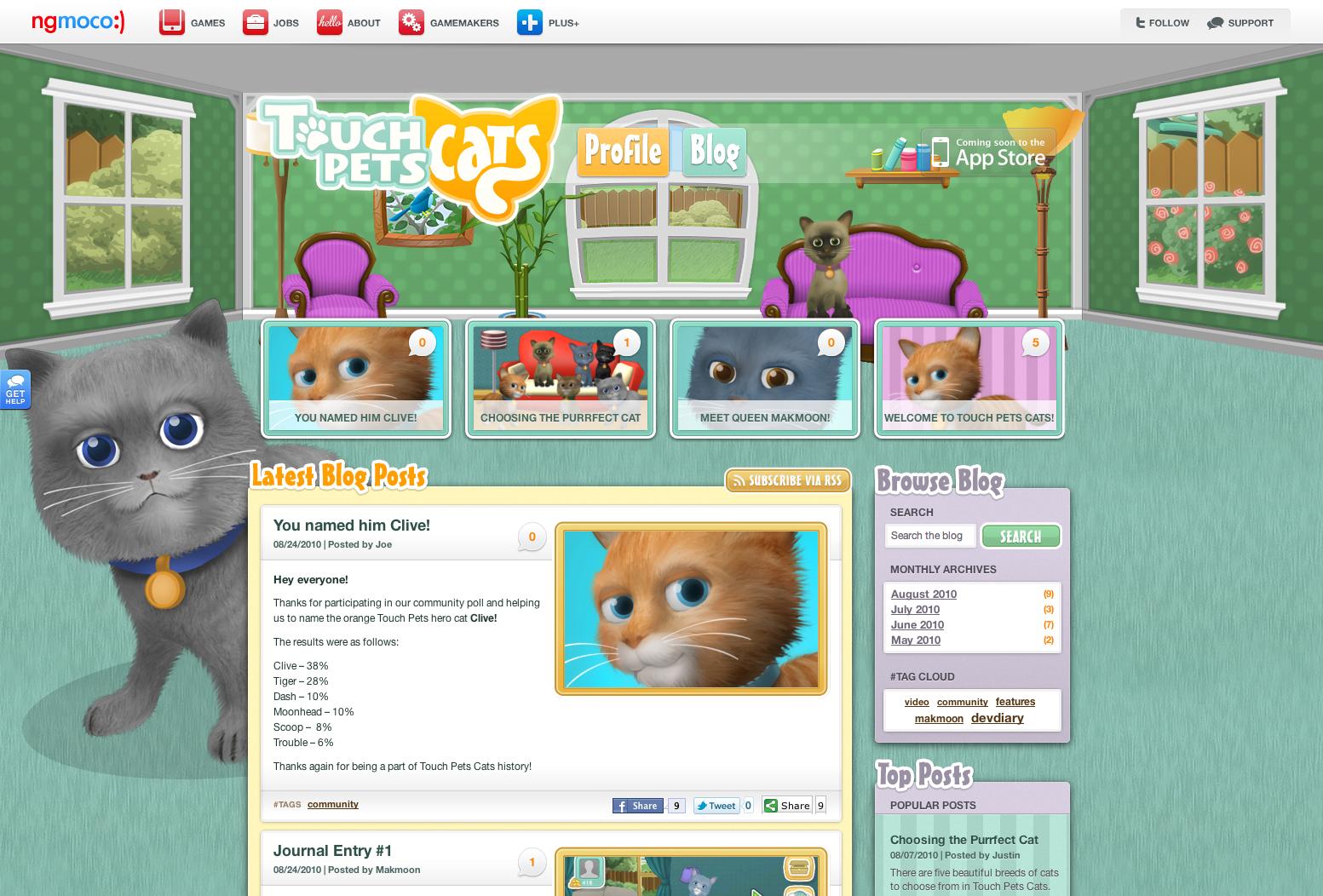 ngmoco:) TouchPets Cats WordPress Theme: Header 2