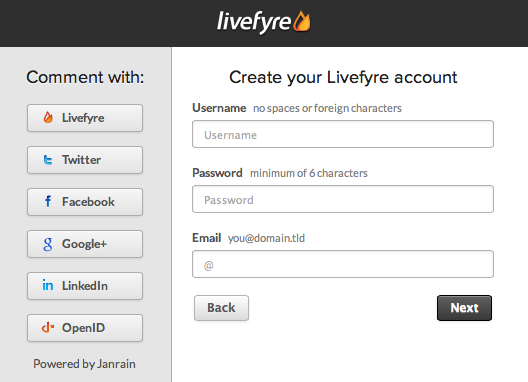 Livefyre Registration: Create New Account
