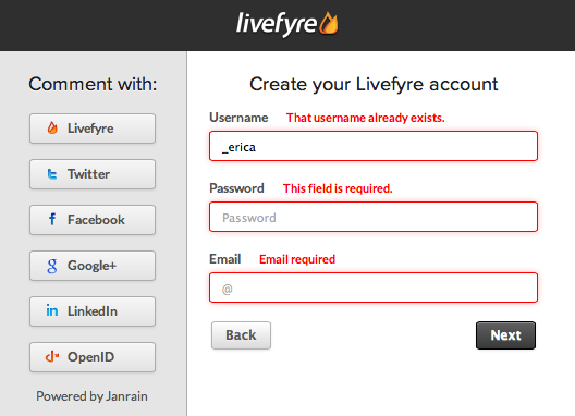 Livefyre Registration: Create New Account w/ Errors