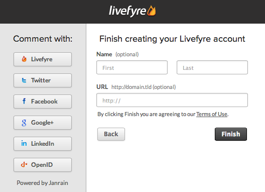 Livefyre Registration: New Account Successfully Created