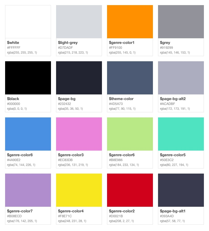 MediaStore Style Guide: Colors